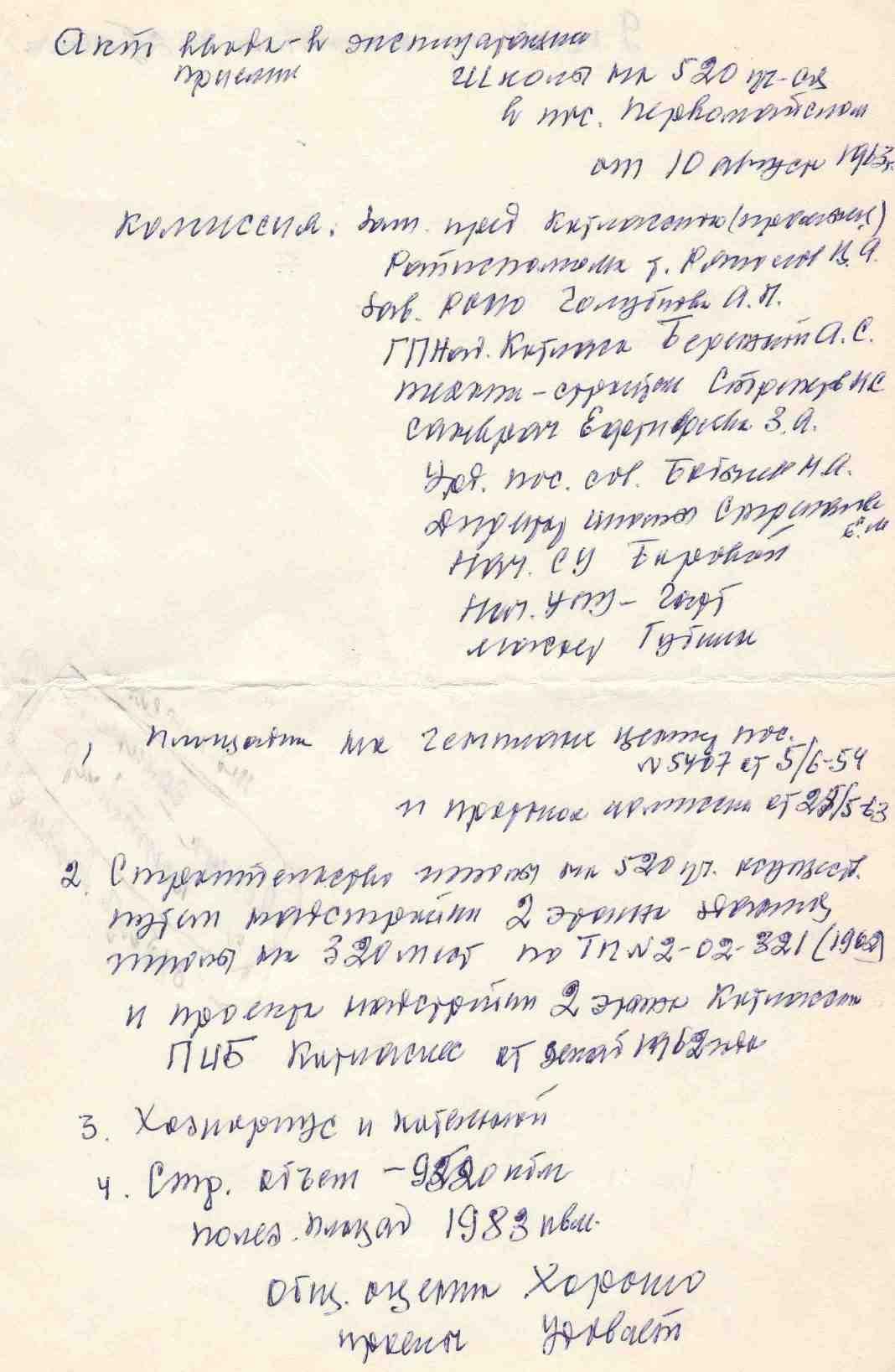 10.08.1963. Акт ввода в эксплуатацию школы на 520 учащихся в п Первомайском. УСШ.