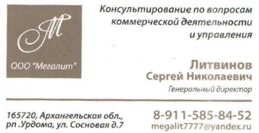 "17.04.2016. Урдома. ООО ""Мегалит"". Литвинов С.Н."