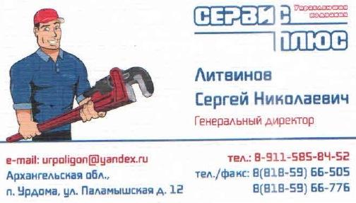 "17.04.2016. Урдома. ООО ""Сервис Плюс"". Литвинов С.Н."