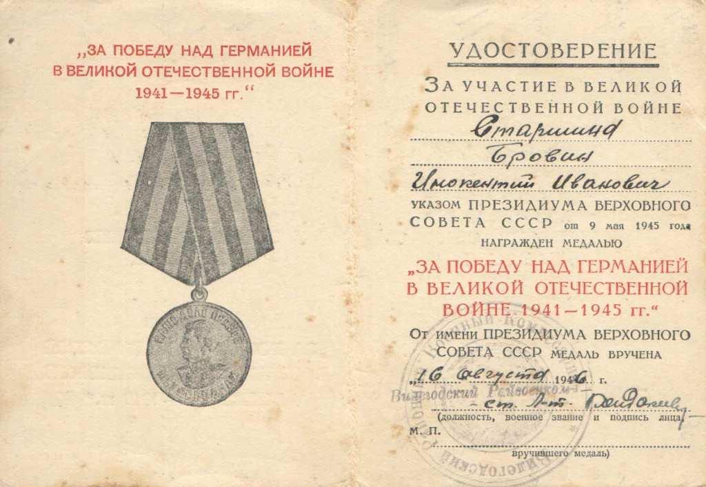 17.3 Удостоверение к медали За победу над Германией в Великой Отечественной войне 1941-1945 гг.