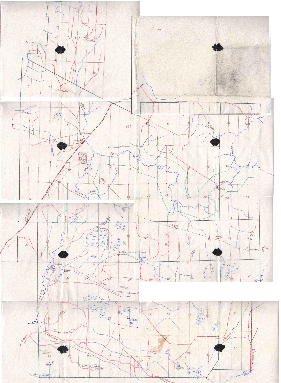 1970-е. Карта, изготовленная лесником Брусовым Александром Федоровичем (п.Урдома) в 1970-е годы. Склейка.