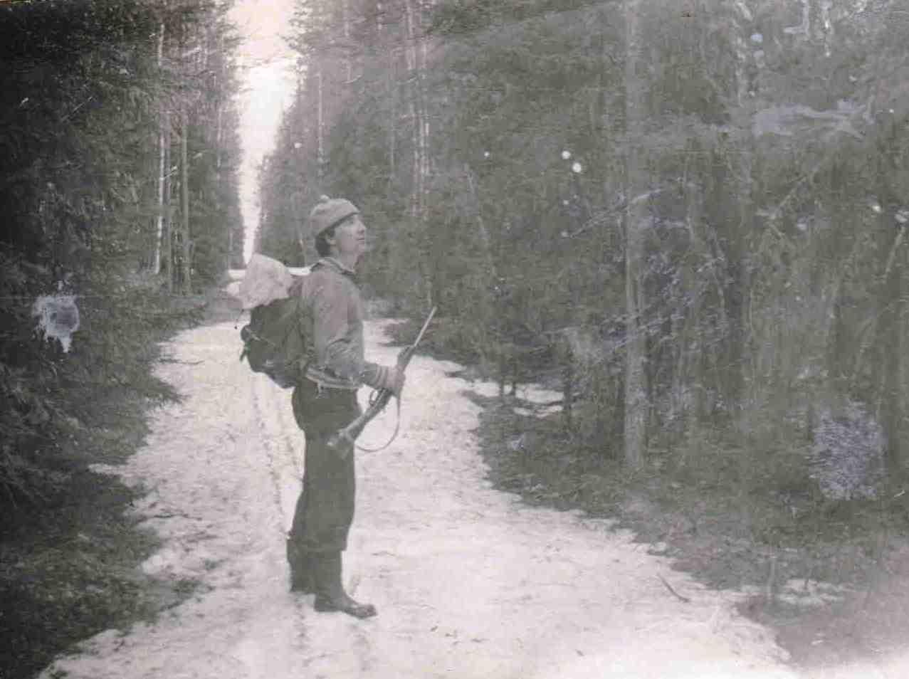 1973, весна, дорога из Нянды на Шестой, Доника А.Д., охота на птицу