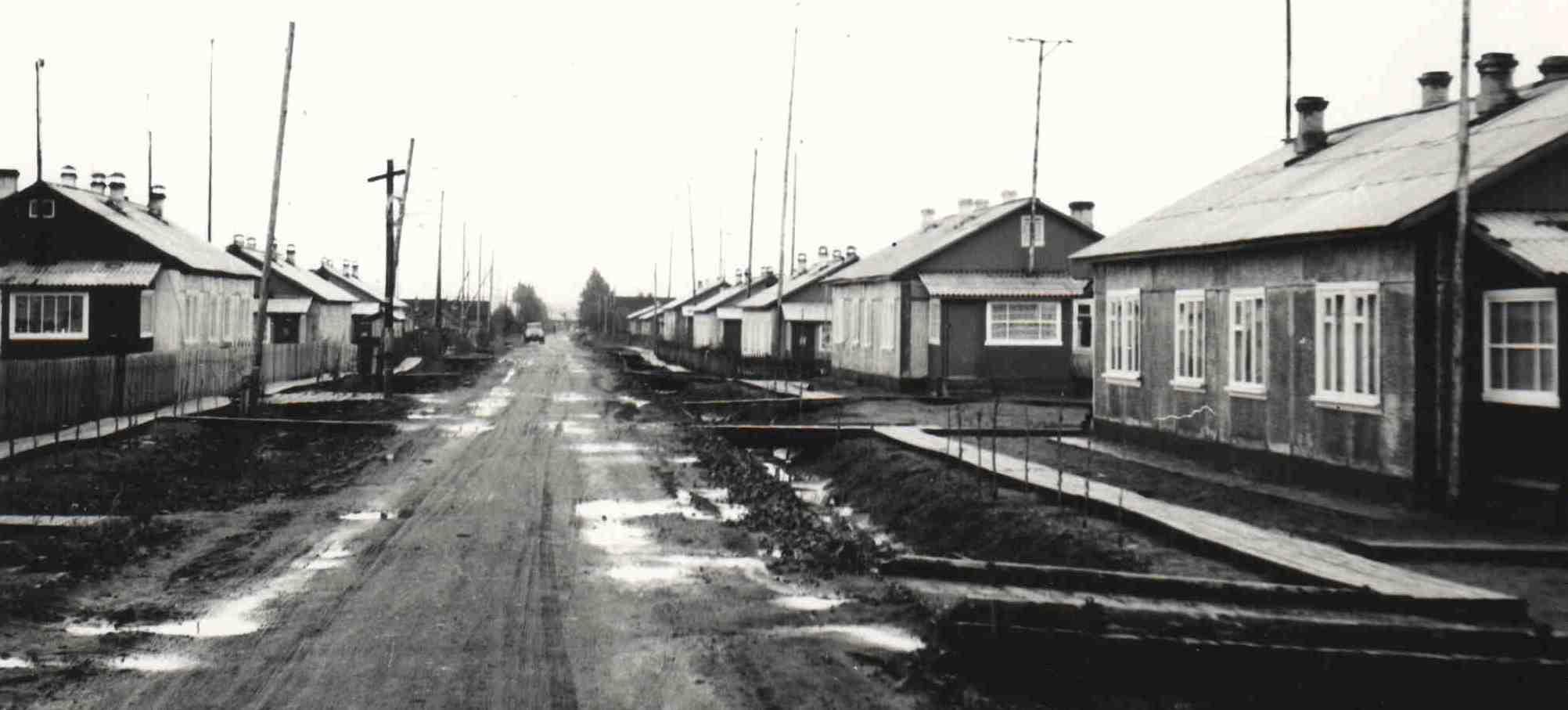 1977-78, п.Урдома, ул.Строителей, Стройучастком (рук.В.А.Гардт) построено около 10-ти 2-квартирных арболитовых домов. Вид улицы со стороны СЖД. (5)