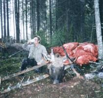 1980-е годы, охотник Брусов Александр Федорович; лось весом 160-170 кг,