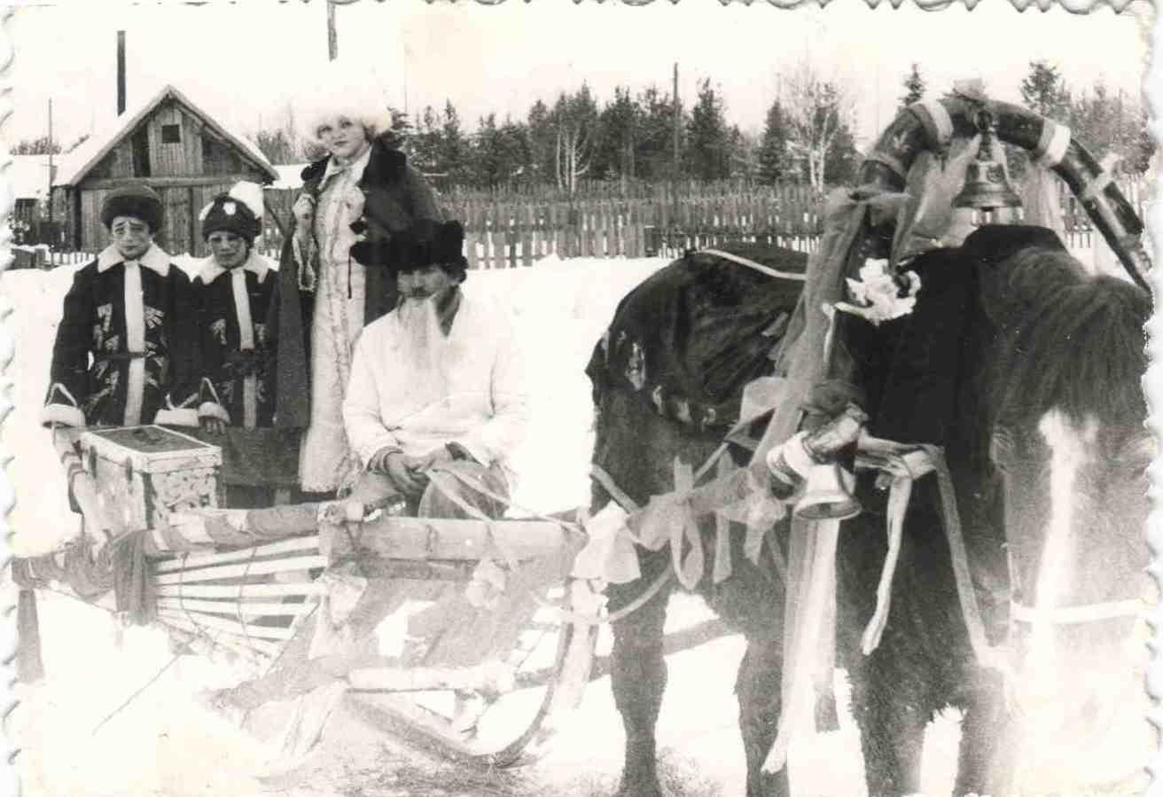 1983 год. Проводы зимы на Первомайке. Слева - Якимов Андрей, Куприяшкин Юра (5кл УСШ), Коршунова Елена - зима на санях с конем ...