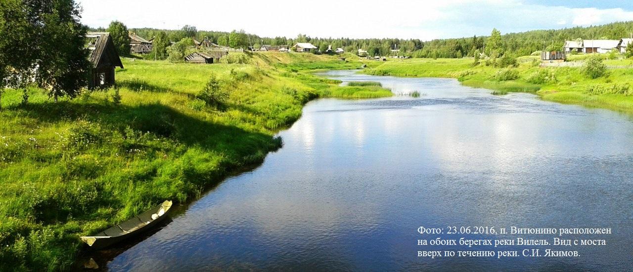 23.06.2016, п. Витюнино. Поселок расположен на обоих берегах реки Вилель. Вид с моста вверх по течению реки.