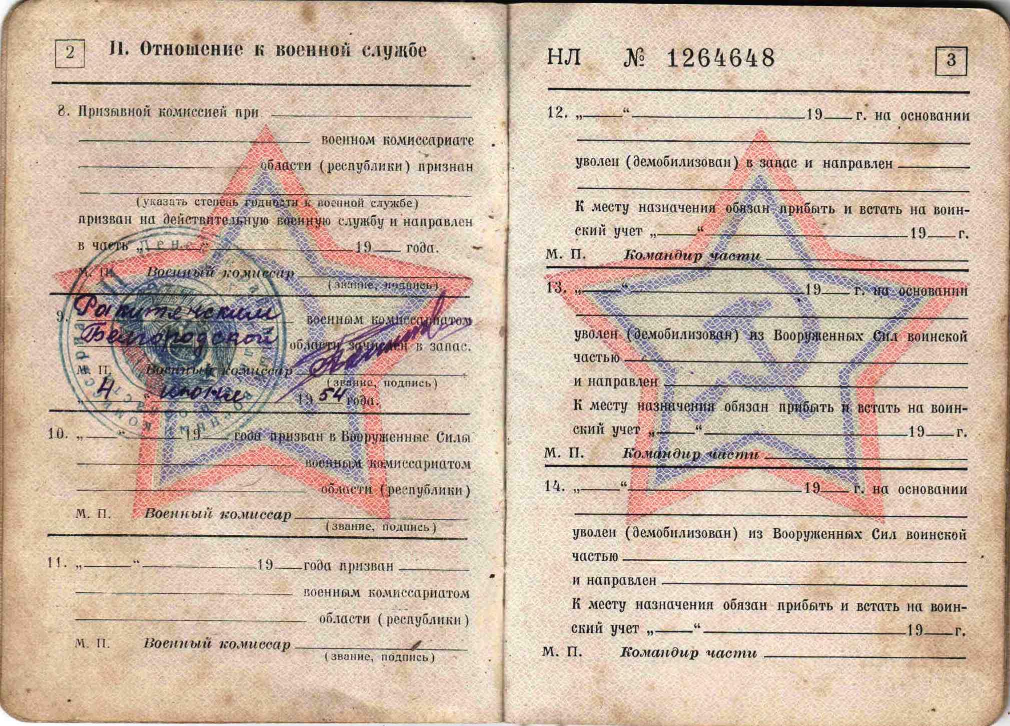 25. Военный билет, 1963 г.