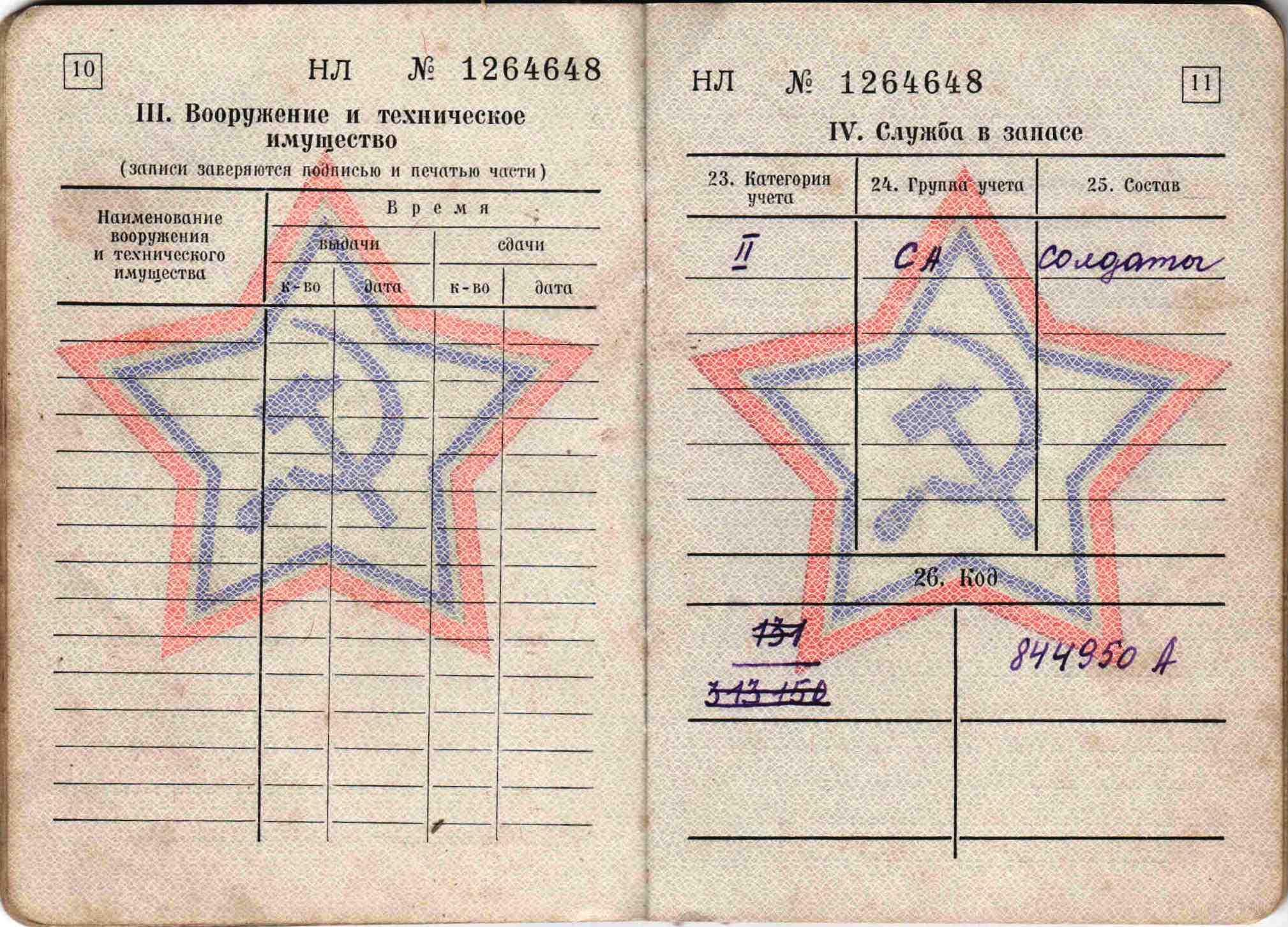 27. Военный билет, 1963 г.
