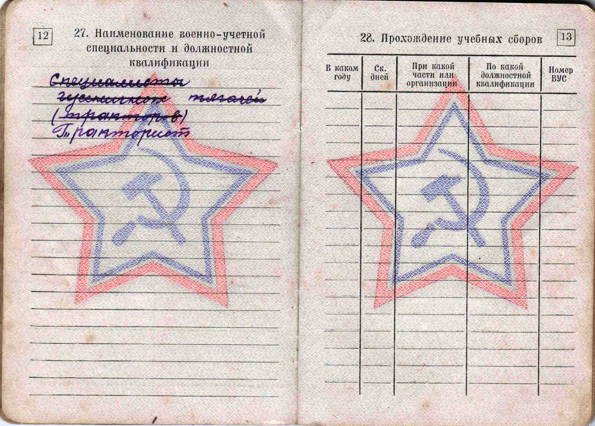 28. Военный билет, 1963 г.