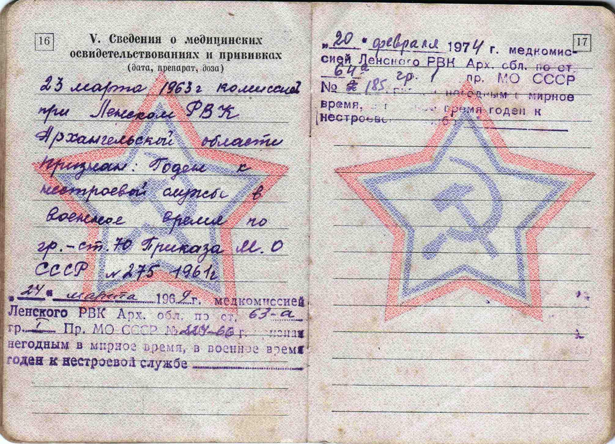 29. Военный билет, 1963 г.