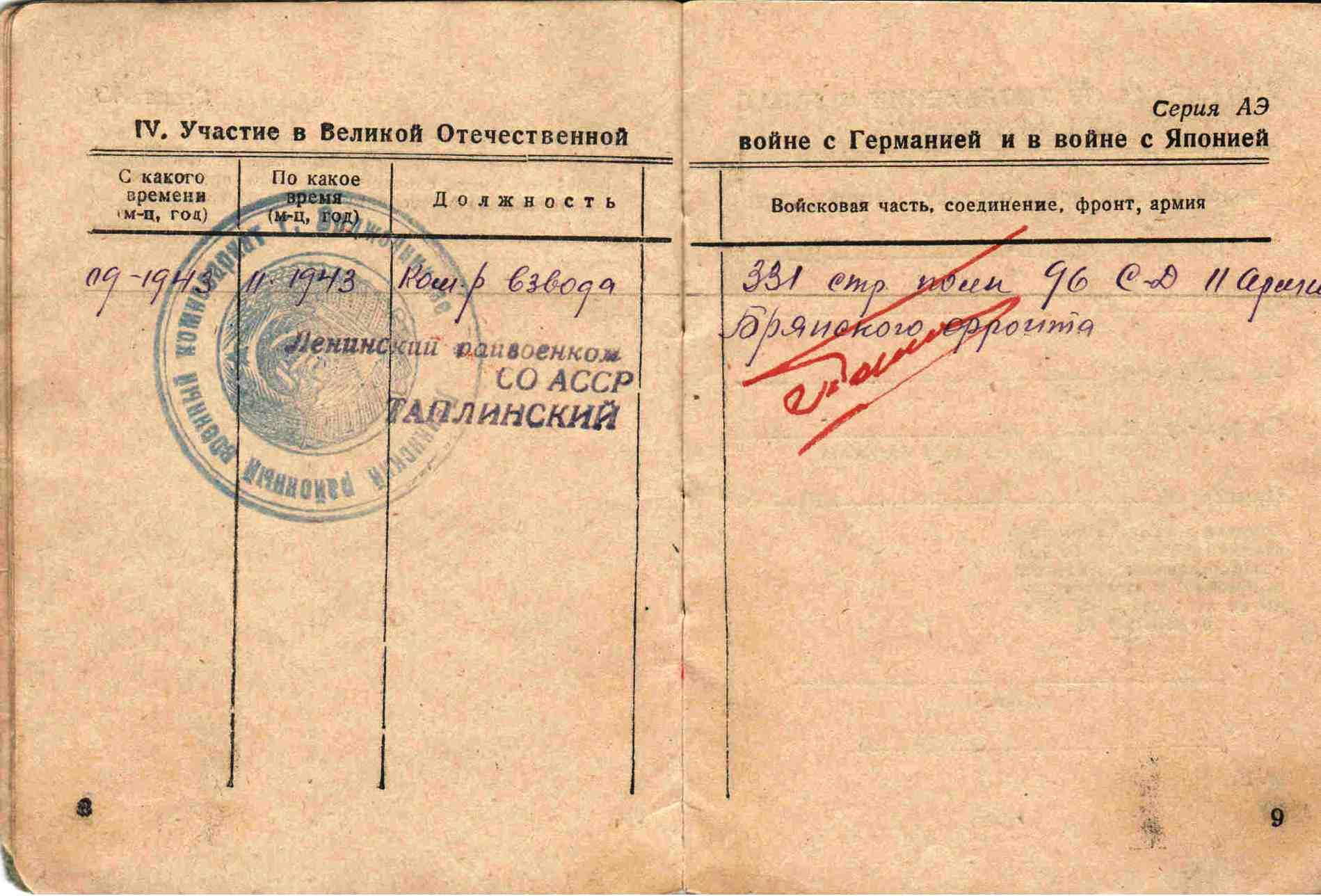 3. Военный билет, Таучелов Р.Н. (3)