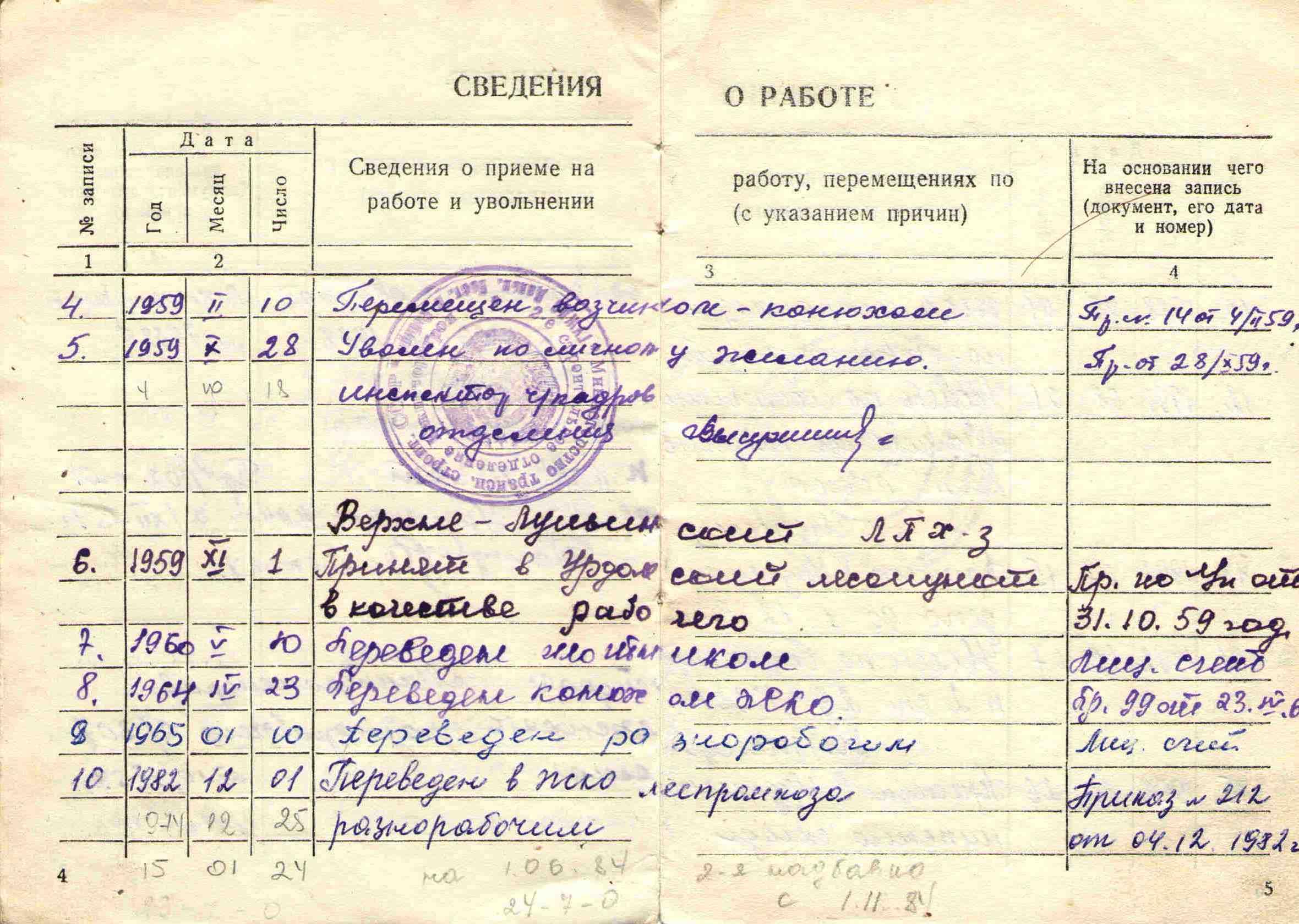 30. Трудовая книжка Барыкина ПП, 1951.