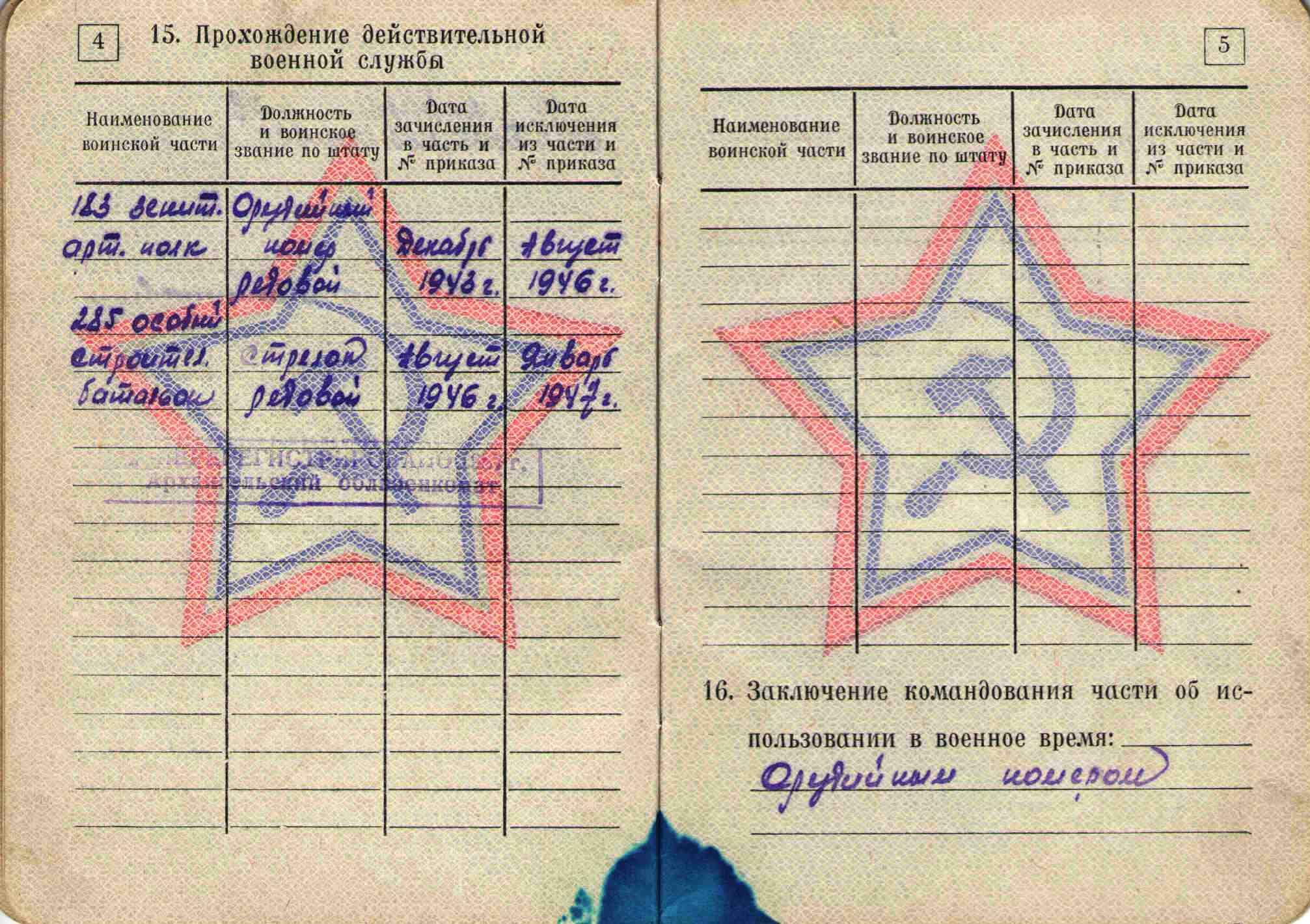 30. Военный билет, 1964
