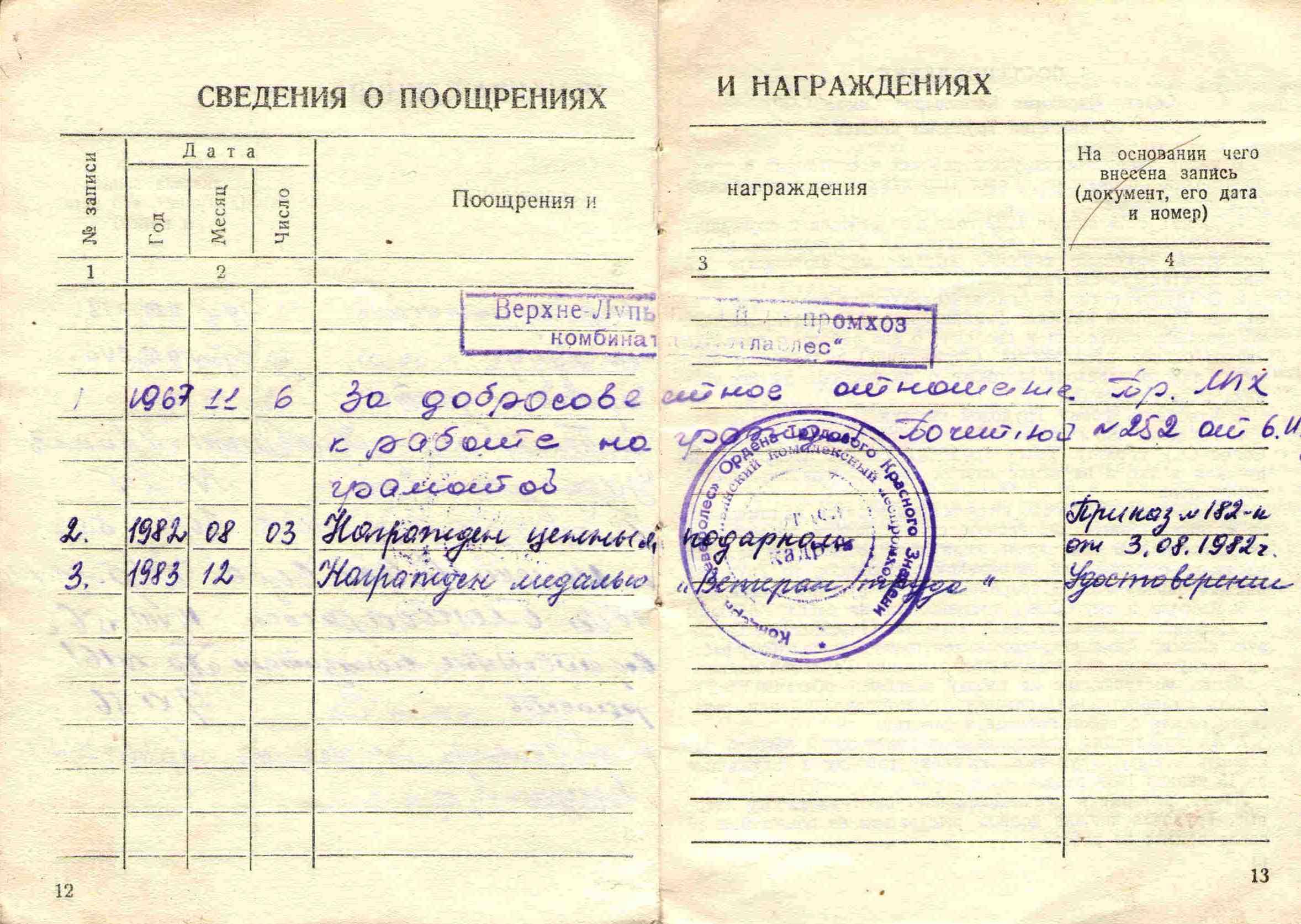 33. Трудовая книжка Барыкина ПП, 1951.