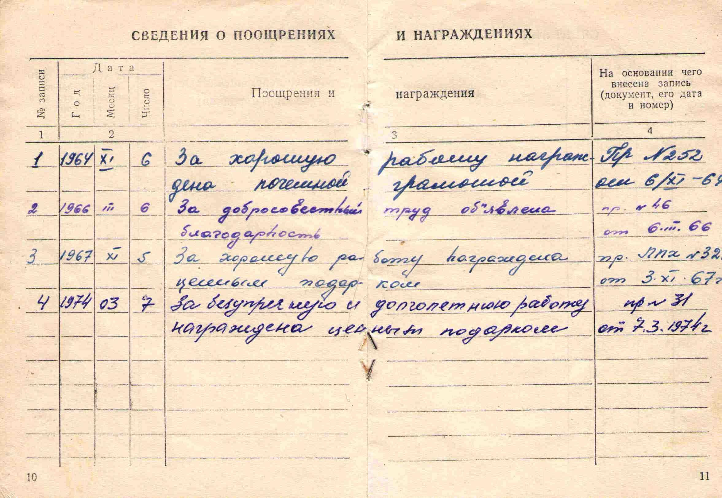38. Трудовая книжка Барыкиной МГ, 1957.