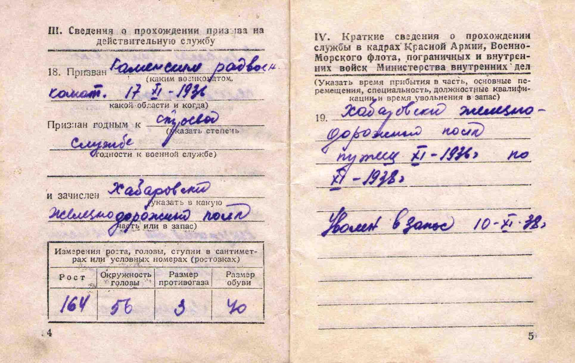 4. Военный билет Барыкина ПП,1948