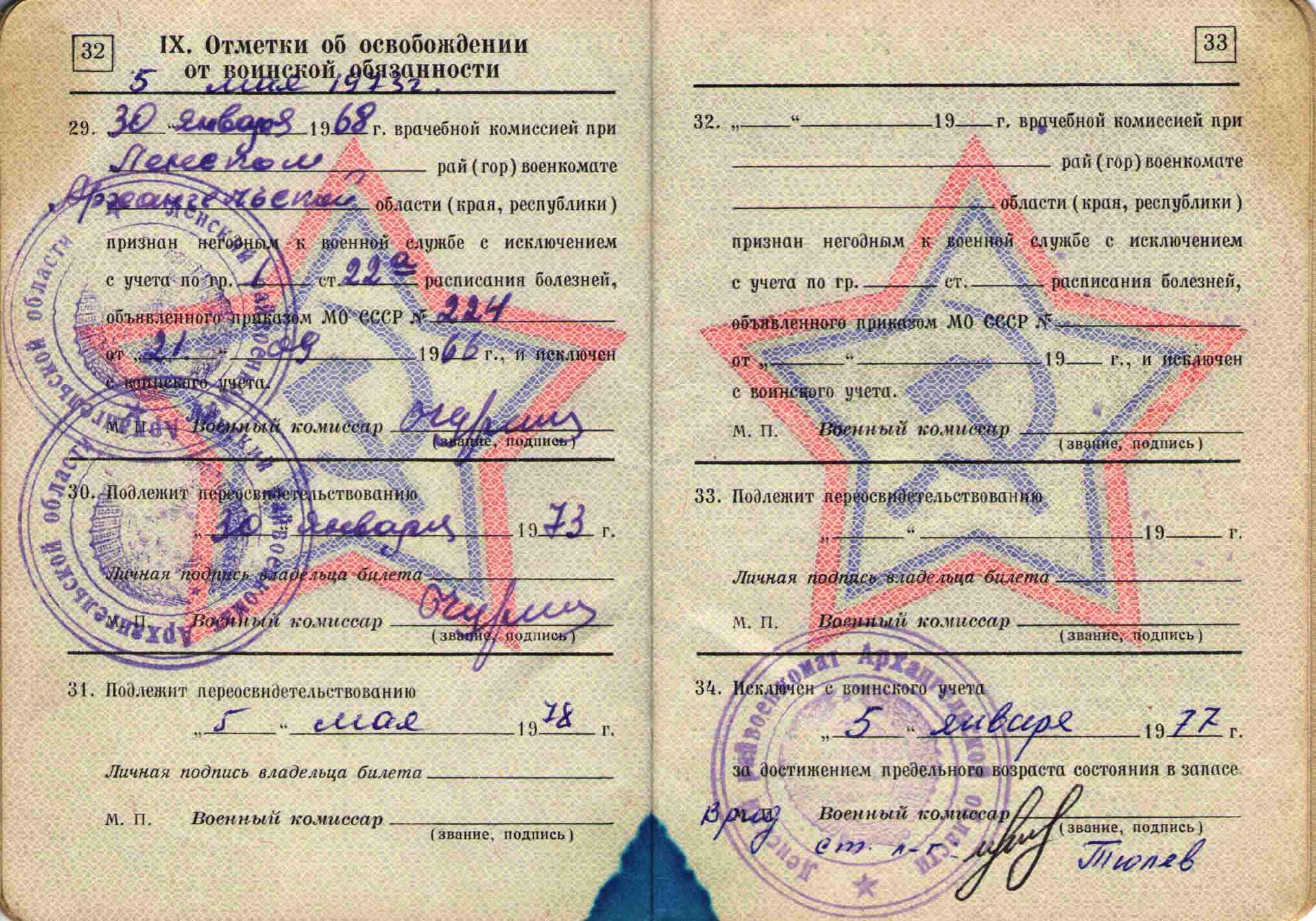 44. Военный билет, 1964