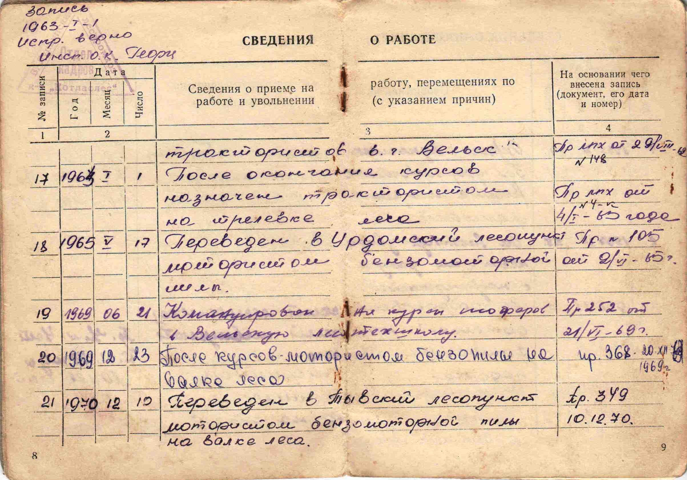 5. Трудовая книжка, 1954г.