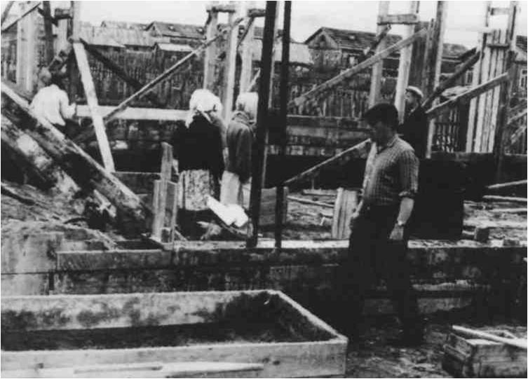 6) 1965-68. УСШ. Строительство школьных мастерских, столовой, клуба. Строительство мастерских шло с 1965 по 1966.