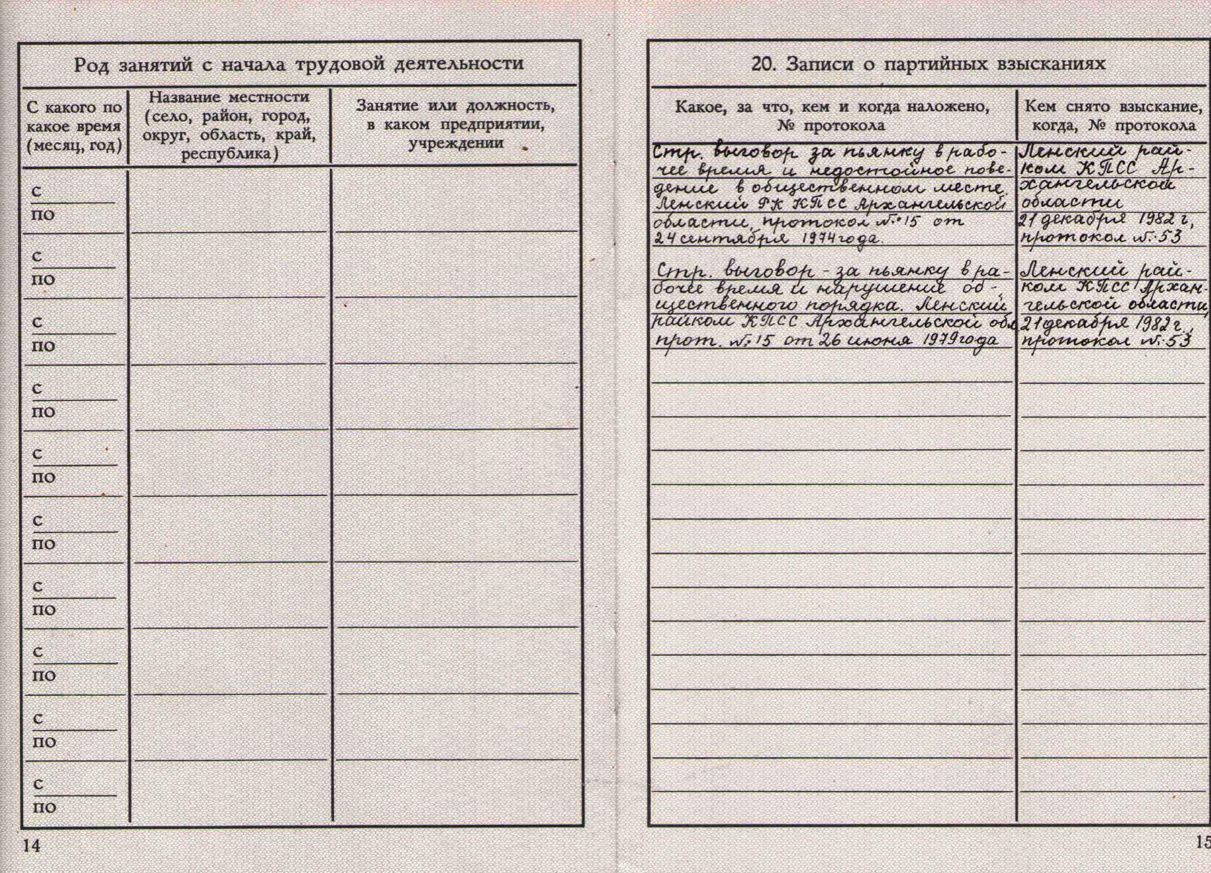 86. Учетная карточка члена партии Барыкина ПП, 1974.