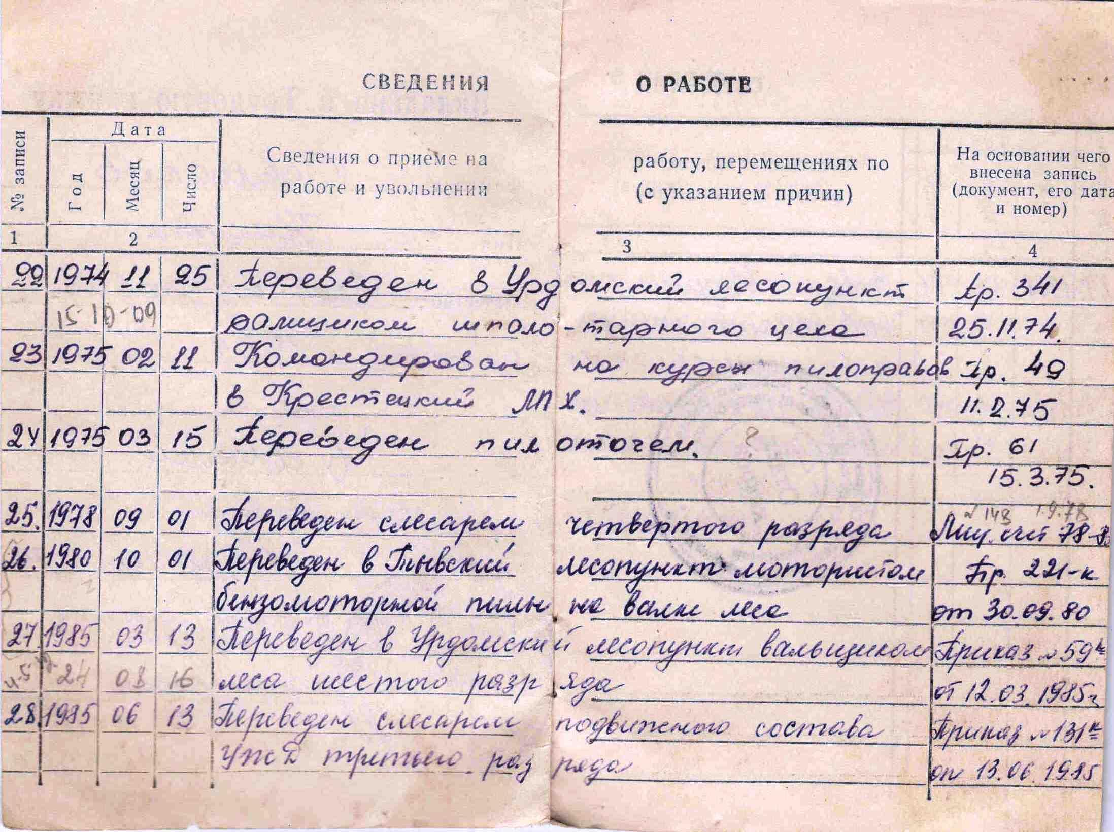 9. Трудовая книжка, 1954г.