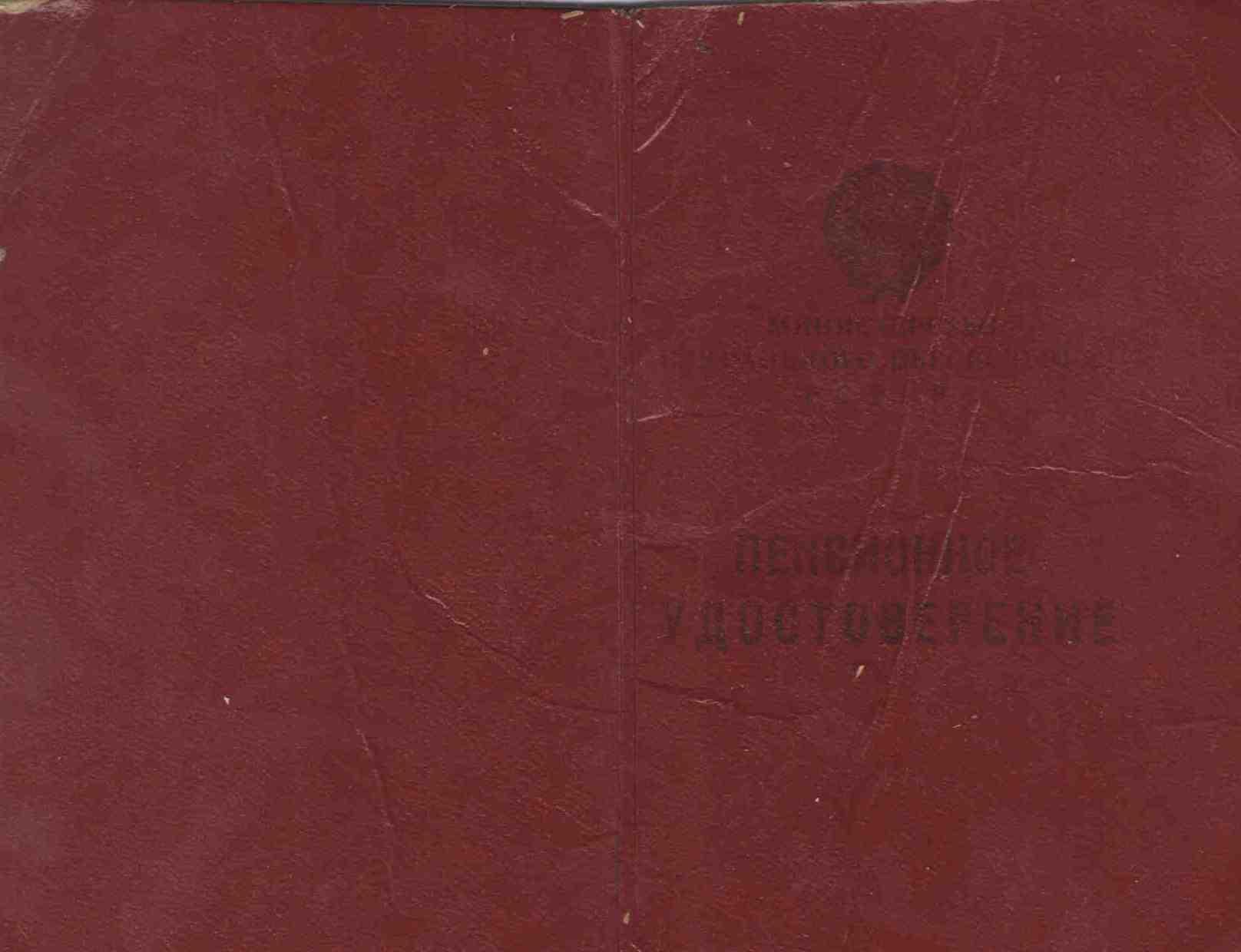 96. Пенсионное удостоверение, Барыкина МГ, 1976