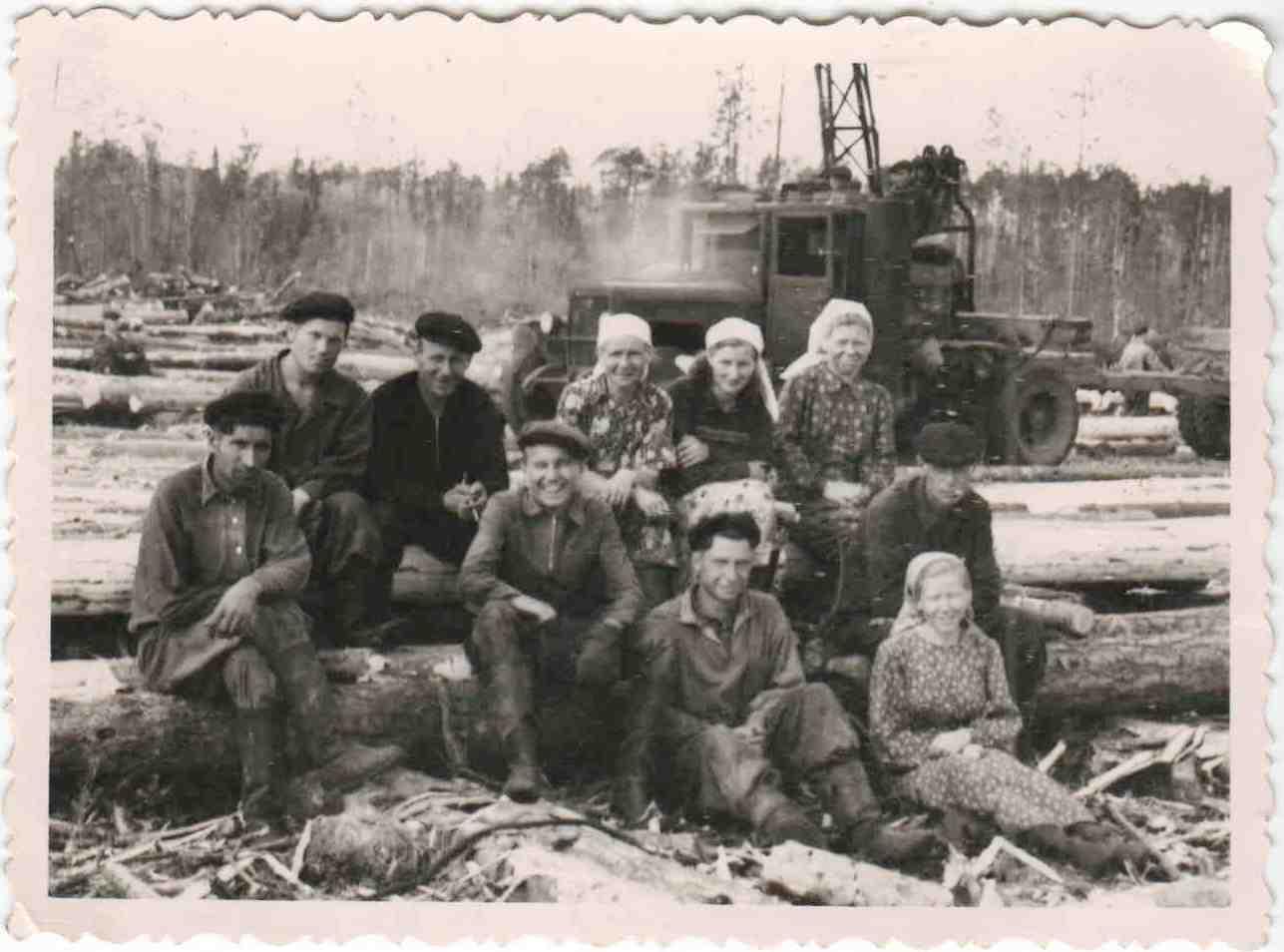 Автомобили ЗИС на погрузке и вывозке леса, п.Вандыш, 1950-е