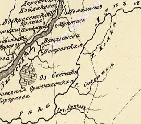 Карта 1816 г, речка Колка. Карта сочинена, гравирована и напечатана при собственном Его Императорского Величества депо карт. Масштаб 20 верст в дюйме.