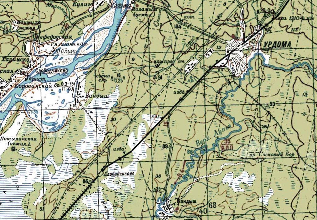 "Карта ""Урдома"" Р-39-XIII, XIV. Состояние местности на 1981 г. Издание 1986 г."