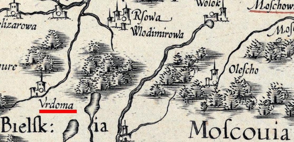 Карта (фрагмент). Великое княжество Литовское в 1586 году. Wikimedia