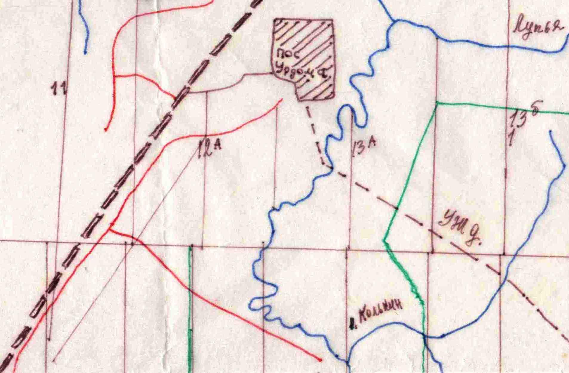 Карта, изготовленная лесником Брусовым Александром Федоровичем (Урдома) в 1970-е годы. Колькин ручей.