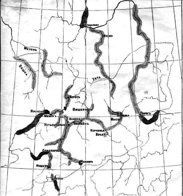 Карта расселения зырян. К.Жаков, 1908
