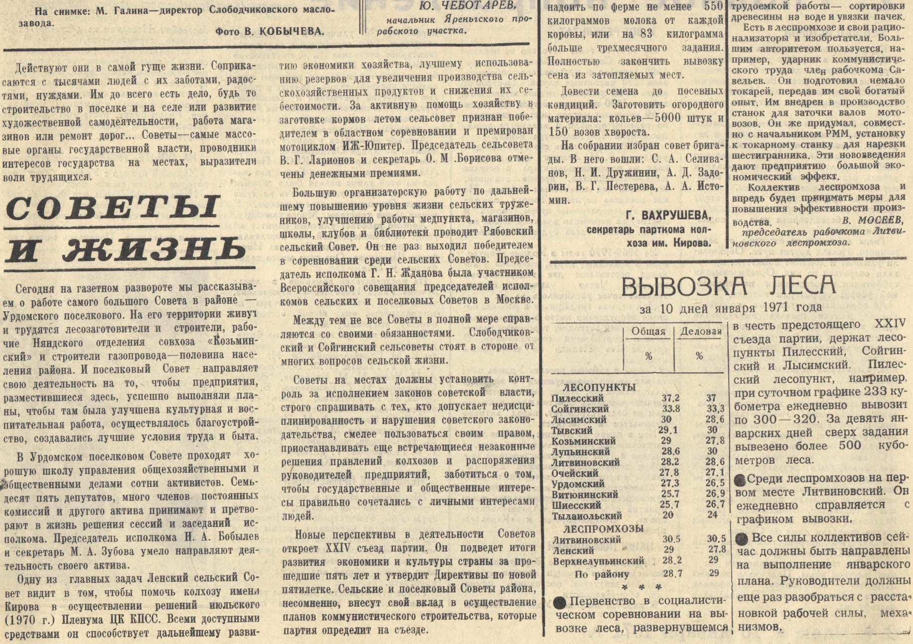 Маяк 16.01.1971 Урдомский поссовет. Почетная грамота (2)