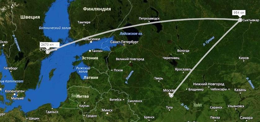Мусор: Москва-Шиес-Швеция. Яндекс.Карты, скриншот от 15.01.2019