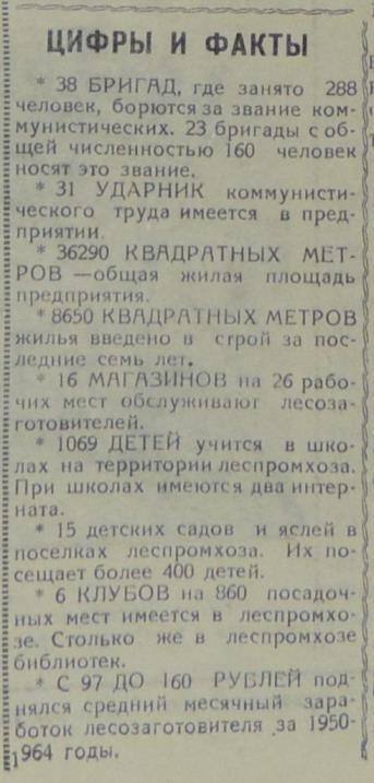 """Цифры и факты В-Лупьинского лпх. Газета """"Маяк"""" от 01.07.1965."""