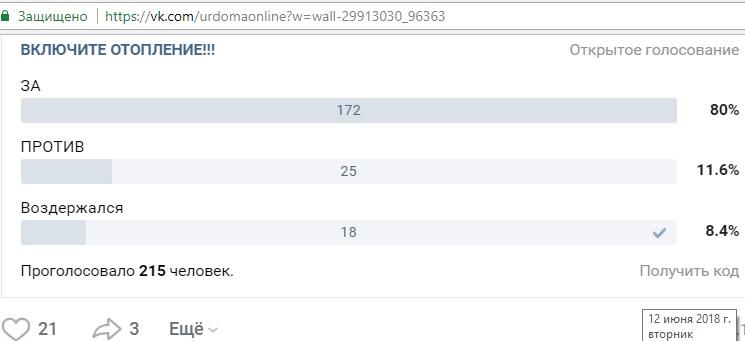 """Включите отопление!"". Опрос в группе УрдомаOnline ВКонтакте от 31.05.2018."