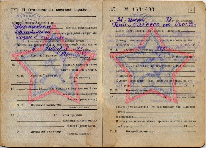 Военный билет. Артемьев Николай Алексеевич, участник Великой Отечественной войны (2)