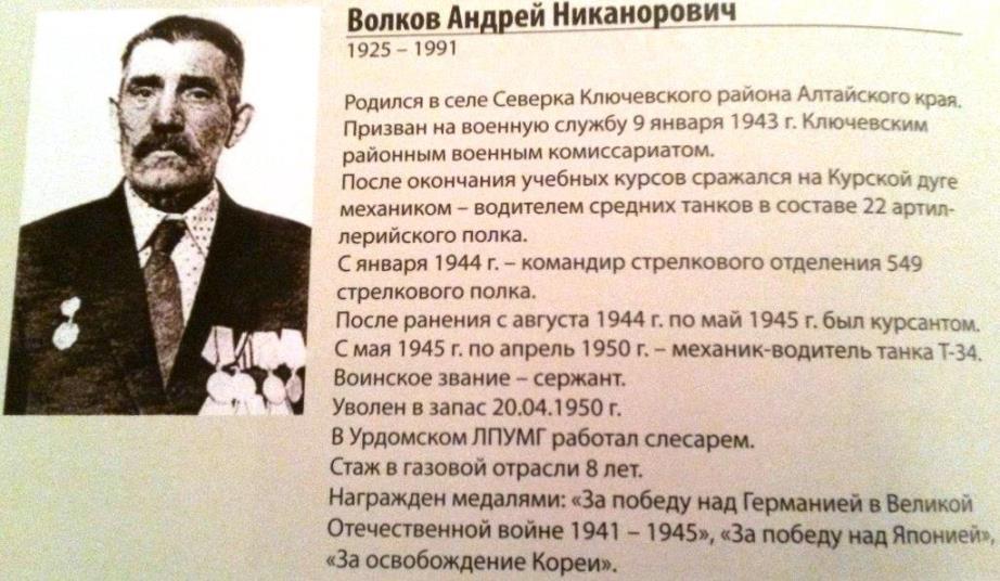 Волков Андрей Николаевич (1925-1992) - ветеран Великой Отечественной войны. Работал слесарем на КС-13.