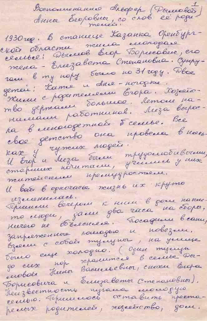 Воспоминания Альфер (Дымовой) Анны Егоровны. Записала Фомина ВА в 2001 г (1)